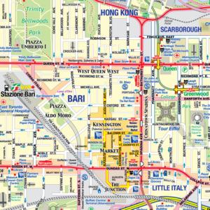 Detail of Enza's Custom Lifemap featuring Toronto, Bari (Italy), Hong Kong & more.